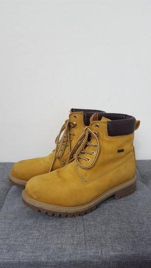 Botas de nieve amarillo oscuro-marrón-negro Cuero