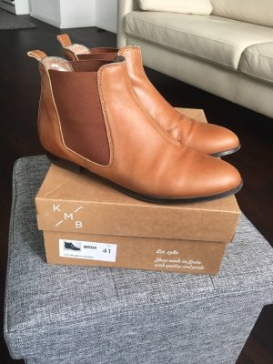 KMB Booties Ankle Chelsea Boots Stiefeletten 38 mittelbraun braun cognac brandy