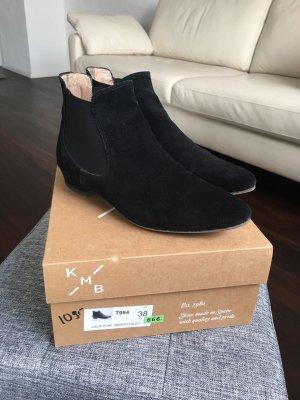 KMB Booties Ankle Chelsea Boots Stiefeletten 38 schwarz spitz Wildleder black