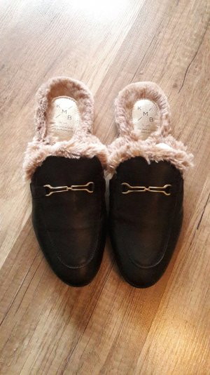 KMB Loafer Gucci Style Fake Faux Fur Fell Slipper Slipons Mules Pantoffel 40
