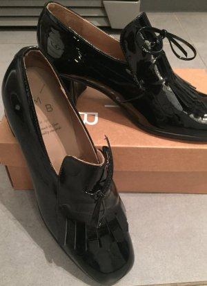 KMB Loafer mit Absatz, schwarz, Lackoptik Gr. 40