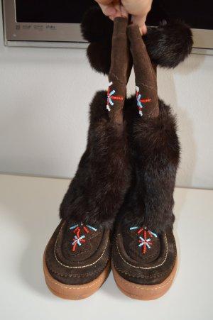 KMB  Stiefel Fell Boots Perlen dunkelbraun Gr. 39 sehr guter Zustand