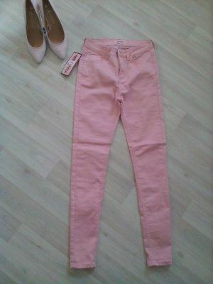 Jeans cigarette rose clair-rose fluo