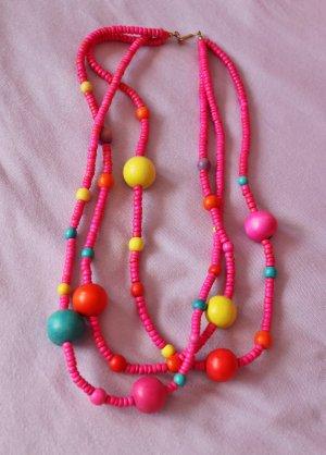 Knall Bunte Halskette Schmuck aus Holz Rund Perlen Pink Gelb Petrol Rot Statement Boho Hippie Ibiza Perlenkette