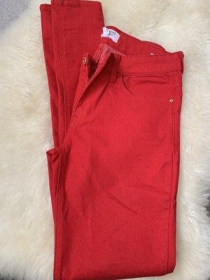 Mango Drainpipe Trousers red