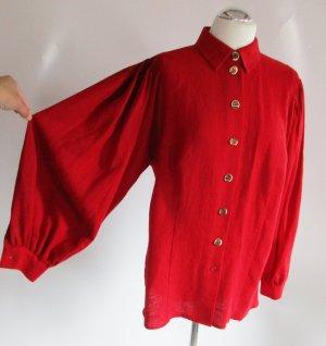 Knall Rote Leinenbluse Petressa Größe XL 44 Trachten weite Ärmel Rot Bluse Landhaus Hemd Oversize Hornknöpfe Folklore Viskose Leinen Mittelalter