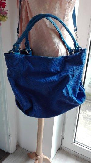 Shopper blue-neon blue leather
