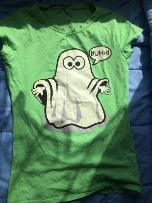 Knallig grünes Shirt mit süßem Gespenster Aufdruck, Größe 38