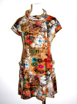knalliges Feinstrick Kleid mit Rollkragen - von Smashed Lemon - Gr. L