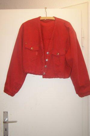 knallrote kurze Vintage Jeansjacke