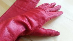 Leather Gloves brick red-red leather