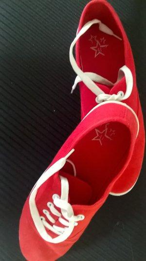 Sneakers met veters rood Textielvezel