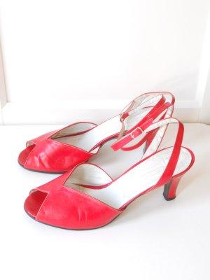 Knallrote Vintage Peep Toe Sandalen High Heels Gr. 38