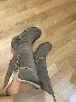 Knielange Stiefel aus echtem Wildleder, Größe 38, warm gefüttert