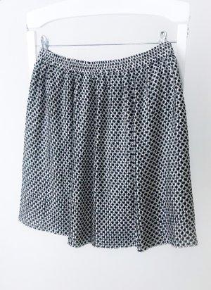 H&M Pleated Skirt black-natural white