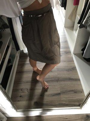 Falda de talle alto marrón grisáceo