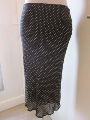 Knielanger Rock gepunktet Gr S schwarz beige Promod