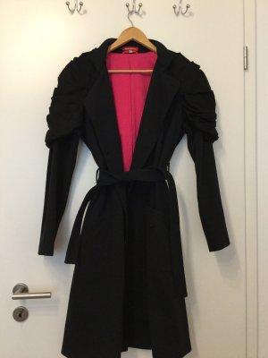 Knielanger Schwarzer Designer Mantel von Inka Koffke-Organic Fashion in Größe 40
