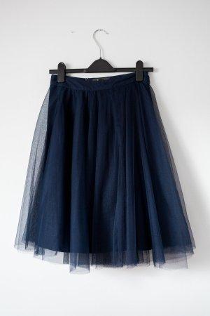 Knielanger Tüllrock mit leichtem Petticoat (Navy, Midi-Länge)