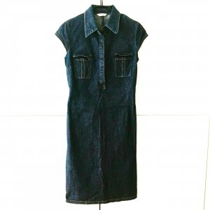 knielanges denim kleid / jeans kleid / vintage / edgy / blue jeans