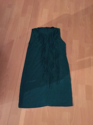 Knielanges grünes Kleid von Zara mit Franzen