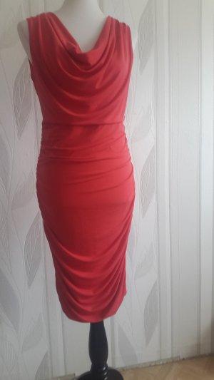 Comma Stretch jurk zalm-lichtrood