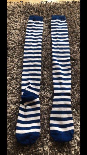 H&M Wollen broek donkerblauw-wit Katoen