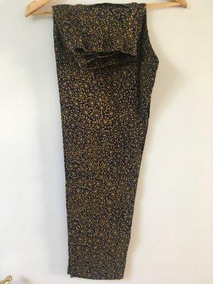 H&M 7/8 Length Trousers dark blue-lime yellow
