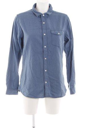 KnowledgeCotton Apparel Camisa de manga larga azul look casual
