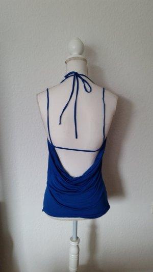 Kobaltblaues Fornarina Top mit Wasserfallauschnitt und tollem Rückenausschnitt