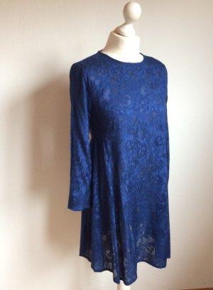 Kobaltblaues Kleid mit Jacquardmuster Mango Neu mit Etikett