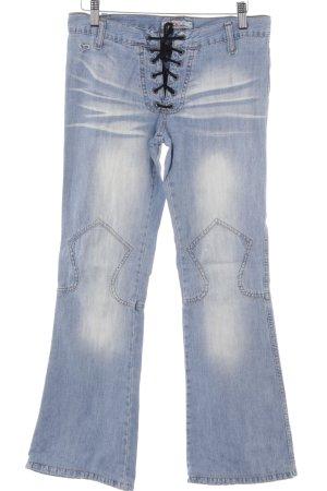 Kocca Boot Cut Jeans kornblumenblau-himmelblau Washed-Optik