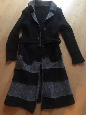 Wollen jas antraciet-lichtgrijs Wol