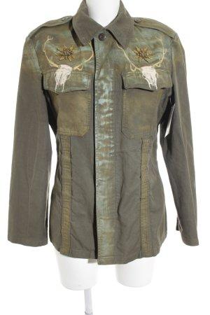 Köhler Militaryjacke olivgrün-khaki abstraktes Muster Rockabilly-Look