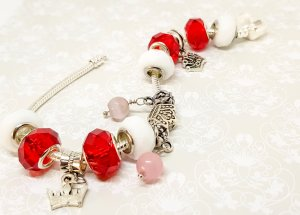 Charm Bracelet red-silver-colored metal