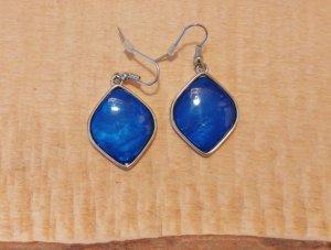 Königsblau-silberne Ohrringe