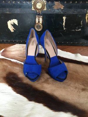 Königsblaue Leder Pumps von Zara