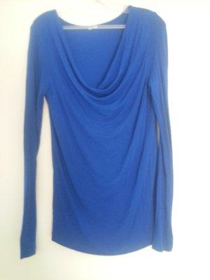 Königsblaue Sweatshirt Longshirt mit Wasserfall Ausschnitt Gr. S