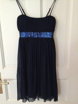 königsblaues Kleid mit Applikationen