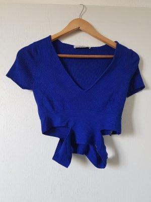 Zara Knit Maglia con scollo a V blu