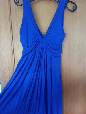 Königsblaues schulterfreies Kleid mit tiefen Ausschnitt
