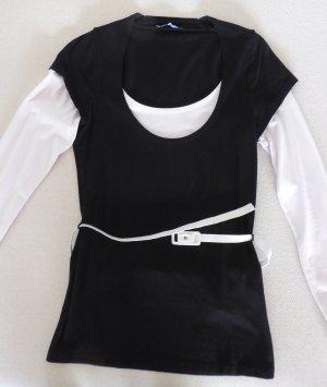 Körperbetontes Long-Sleeve in Schwarz&Creme mit Gürtel