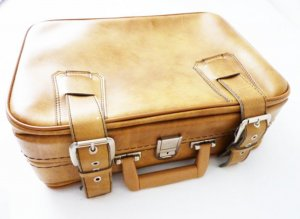 Suitcase multicolored imitation leather