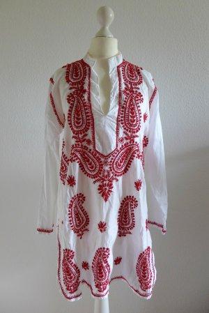 Kokon Impressionen Tunika weiß rot Hippie Boho Bluse Gr. 36 38 40 handbestickt