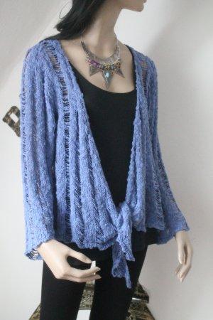 Coarse Knitted Jacket cornflower blue