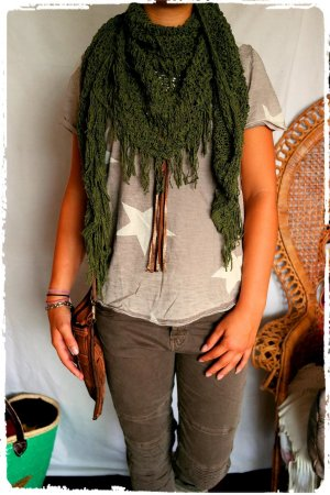 Sjaal met franjes olijfgroen Katoen