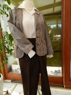 Kombi: Gina Benotti Blazer mit Hose Gr.20 (=Gr.40 kurz) und Bluse Gr.40