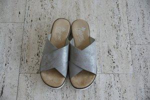 Komfort Pantolette, silber, neu