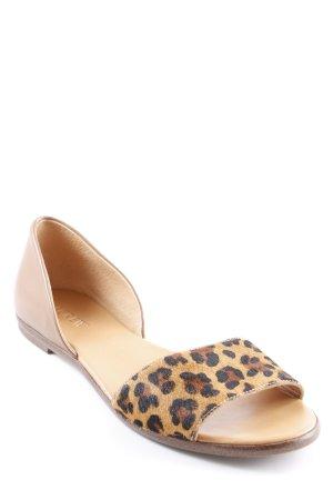 "Comfort Sandals ""Calf Hair Peep Toe D'Orsay Flats"" light brown"