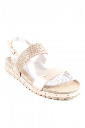 Sandalias cómodas marrón claro-color bronce look casual